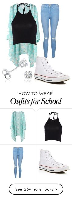 """High school"" by christynstuff on Polyvore featuring New Look, Converse and…"
