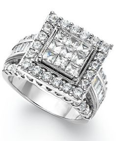 Shape up your special day with this square-shaped engagement ring. This 14k gold ring sparkles with princess-cut, round-cut and baguette-cut diamonds (3 ct. t.w.). | 3 Carat Diamond Ring | Diamond Col