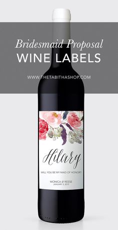 Asking your maid of honor to stand by your side on your big day is such a thrill! Make your ask personalized and unique with a wine label. Simply soak the bottle in hot water, peel or scrape off the label, then adhere this new personalized one!