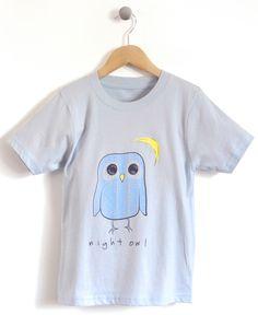 Night Owl Kids T-Shirt in Light Blue