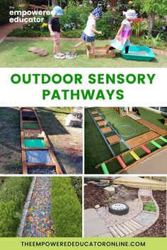 Outdoor sensory paths for children are not only fun to explore (and make!), they also provide opportunities for children to build sensory connections in the brain and improve gross motor skills. Check out these 20 outdoor sensory path ideas for kids you can set up in your outdoor play area. | The Empowered Educator Sensory Pathways, Path Ideas, Sensory Activities, Preschool Activities, Paths, Early Years Teacher, Picnic Blanket, Outdoor Blanket, Family Day Care
