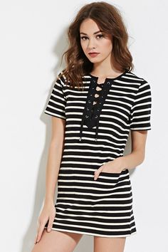 Striped Lace-Up Shift Dress | Forever 21 Canada