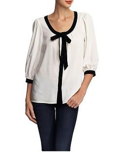 Tie Neck Contrast Blouse :: Tinley Road    Who doesn't like a little contrast?