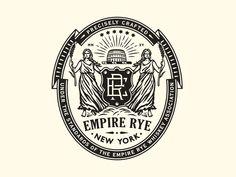 Empire Rye new york women monogram barrel blind crest seal badge logo Classic Branding, Logo Branding, Branding Design, Badges, Draw Logo, Logo Process, Hand Drawn Logo, Isometric Design, Badge Logo