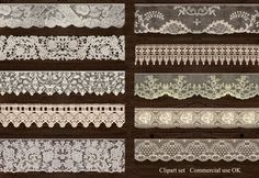 Ivory lace, digital download, instant download, lace clipart, scrapbooking lace, commercial use lace, scrap CU, vintage lace, lace png - pinned by pin4etsy.com