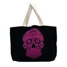 Purple Leopard Boutique - Large Sturdy Black Canvas Tote with Pink Day of the Dead Skull, $28.00 (http://www.purpleleopardboutique.com/large-sturdy-black-canvas-tote-with-pink-day-of-the-dead-skull/)