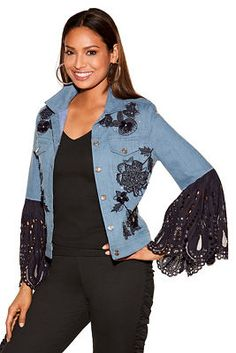 Our elevated denim jacket is designed with bold dimensional and embroidered sequin and rhinestone florals on the front and shoulders while dramatic scalloped lace bell sleeves Source by Denim Fashion, Boho Fashion, Chic Outfits, Fashion Outfits, Jean Outfits, Lace Sleeves, Bell Sleeves, Estilo Hippie, Denim Ideas