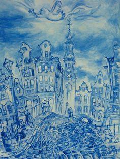 Zuiderkerk à Amsterdam - huile sur toile - Elena Polyakova (1970-)