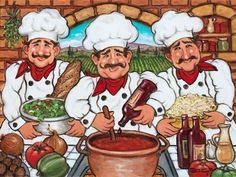 "Three Happy Chefs, another original painting available from Janet Kruskamp Studios. This colorful image features three chefs dressed in kitchen white with hats, and a bright red kerchief around each one's neck. In the center, a chef is adding a drop of wine to the pot of red sauce simmering on the stove. The chefs on either side hold a bowl of salad and a bowl of pasta noodles. Ingredients cover the counter in front of the chefs, and …$375. + S/H oil on canvas 20""X24"""