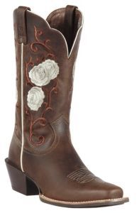 Ariat® Rosebud™ Women's Distressed Brown w/ Rose Embroidered Upper Square Toe Western Boot  Price: $199.99