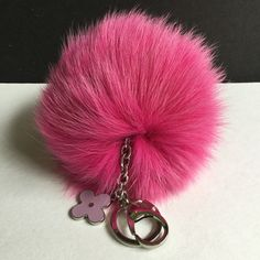 a83c9a4860 Hot pink Fox Fur Pompom bag charm pendant Fur Pompoms keychain with flower  clover charm in
