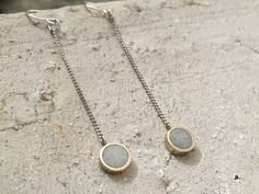 Deco Outfitter - Concrete x Brass Drop Earrings | Round