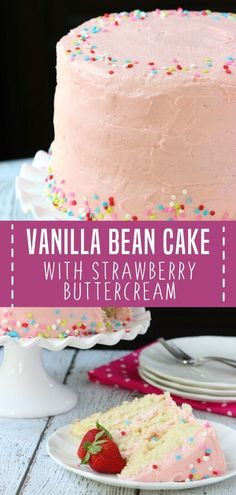 Celebrate Easter with this crowd favorite recipe! Vanilla Bean Cake with Strawberry Buttercream is m Delicious Cake Recipes, Best Cake Recipes, Cupcake Recipes, Yummy Cakes, Sweet Recipes, Cupcake Cakes, Dessert Recipes, Cupcakes, Amazing Recipes