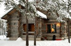 Stay in a log cabin in the snow