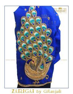 Peacock themed Aari / maggam work blouse designs for silk sarees – Fascinate Blouses Peacock Blouse Designs, Peacock Embroidery Designs, Pattu Saree Blouse Designs, Simple Blouse Designs, Fancy Blouse Designs, Bridal Blouse Designs, Blouse Neck Designs, Peacock Design, Traditional Blouse Designs
