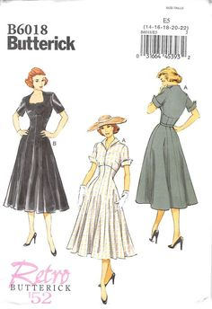 Dress has raised neckline variations, fitted bodice, button trim, raised waist, fitted and flared skirt with princess seams, side zipper and short sleeves. A: fold-back lapels and shaped cuffs.