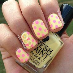 Yellow and Pink Polka Dots Nail Design + Lemon Accent Nail