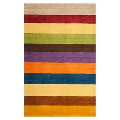 Wool rug with multicolor striping. Hand-loomed in India.  Product: RugConstruction Material: WoolCol...