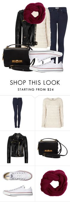 """Untitled #4"" by hatsandsundays ❤ liked on Polyvore featuring Topshop, Warehouse, Versace, Marc by Marc Jacobs and Converse"