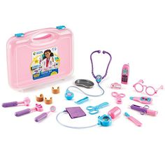 The doc is in with the Learning Resources Pretend & Play Doctor Set. The kit includes everything your tot needs for a full check-up, such as a thermometer, stethoscope and reflex hammer. Fun for play, and to ease fears about doctor visits. Pink Stethoscope, Baby All In One, Doctor Costume, Playing Doctor, Building For Kids, Kits For Kids, All Toys, Nintendo Wii Controller, Imaginative Play
