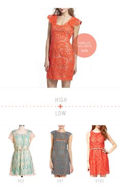 High + Low: The Lace Dress - Home - Creature Comforts - daily inspiration, style, diy projects + freebies. High is Sunblaze Lace Dress from Anthropologie