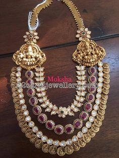 77d4a4bc5fb906 Three Layer Kasu Mala with Pachi Work Antique Necklace, Gold Necklace,  India Jewelry,