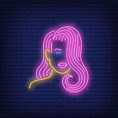 Menina com sinal de néon de cabelo rosa . Neon Wallpaper, Tumblr Wallpaper, Neon Light Art, Girl With Pink Hair, Girl Hair, Instagram Symbols, Neon Girl, Nixie Tube, Neon Logo