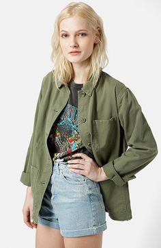 Topshop 'Saunders' Long Shirt Jacket available at #Nordstrom