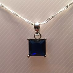 "Blue Sapphire Necklace💙 Synthetic Blue Sapphire Necklace*💎 Length 20"" Jewelry Necklaces"