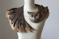 Good Owl stole felted wool animal scarf от celapiu на Etsy