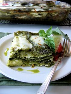 The Bojon Gourmet's Zucchini Pesto Lasagna, made with fresh spinach pasta sheets, pesto, roasted summer squash, goat cheese and mozzarella. An excellent way to use up extra zucchini.