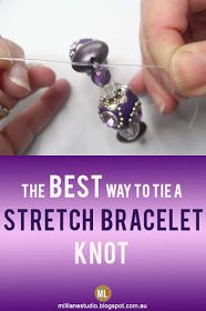 This is the BEST way to tie a secure knot in a Stretch Magic bracelet. Check out… This is the BEST way to tie a secure knot in a Stretch Magic bracelet. Check out the gorgeous DIY bracelet too. It's made with opulent Kashmiri-style beads – gorgeous! Jewelry Knots, Wire Jewelry, Jewelry Crafts, Beaded Jewelry, Jewelery, Jewellery Box, Jewellery Shops, Jewelry Stores, Amber Jewelry