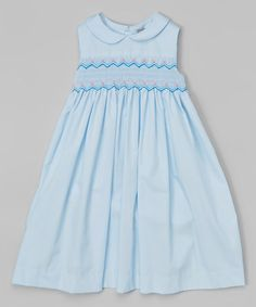 This Blue Smocked Peter Pan Dress - Infant, Toddler & Girls is perfect! #zulilyfinds