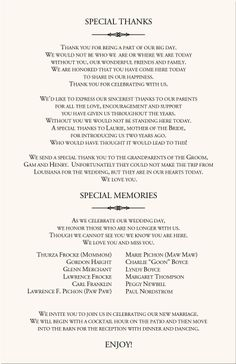 Wedding ceremony brochure wording