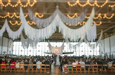 Such a good idea to have the ceremony and reception in a hanger