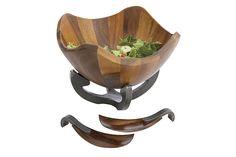 Nambé Anvil Scroll Salad Bowl with Servers