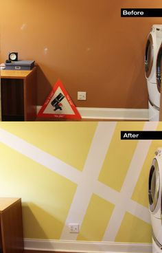 Before + After - Geometric Wall Mural Laundry Room Makeover