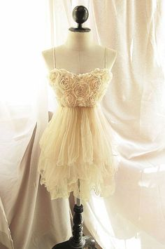 Cream Bridesmaids Dress in Tulle- Love this! But would want it long