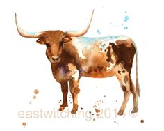 STEER Print boys wall art cow country western art by eastwitching, $25.00