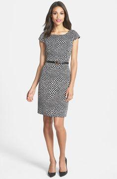 Tahari Belted Print Sheath Dress (Regular & Petite) | Nordstrom