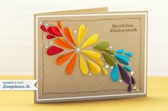 Wow! Beautiful rainbow card made with hearts - stempelwiese