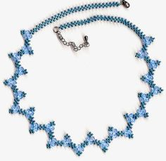 Free pattern for beaded necklace Blue River U need: seed beads bicone beads mm [ad Free Beading Tutorials, Beading Patterns Free, Jewelry Making Tutorials, Free Pattern, Bead Patterns, Seed Bead Necklace, Seed Bead Jewelry, Bead Jewellery, Seed Beads