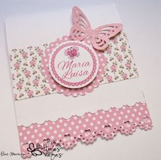 Convite artesanal Jardim Encantado floral rosa Mickey Birthday, Boy First Birthday, Birthday Cards, Baby Cards, Kids Cards, Easy Paper Crafts, Diy And Crafts, Butterfly Party, Quilling Designs