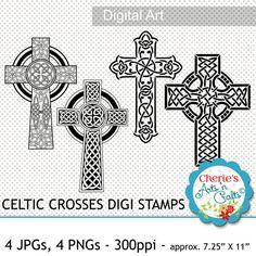 SALE  Celtic Crosses Digi Stamps  PNG and JPG Images