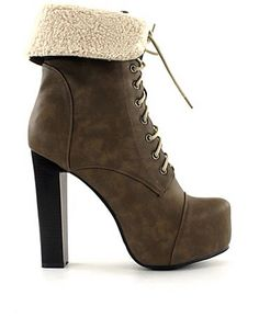 Lace bootie + sheep skin + thick heel