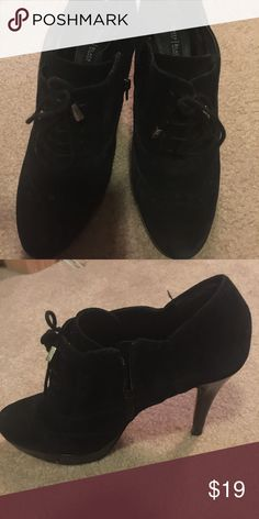 "WHBM size 7 black heeled booties WHBM size 7 used in excellent condition. Black velvet 3"" heel ankle booties. Laces and zips .!comes from a smoke free home White House Black Market Shoes Ankle Boots & Booties"