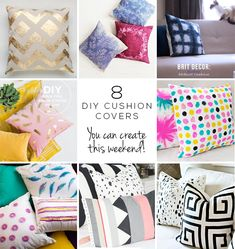8 DIY Cushion Covers You can Create this Weekend | http://blog.oakfurnitureland.co.uk/how-to/8-diy-cushion-covers-can-create-weekend/