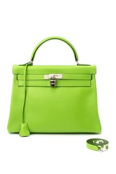 Vintage Hermes Leather Kelly 32 Handbag (Stamp: Square C, Silver Hardware) - Light Green by LXR on @HauteLook