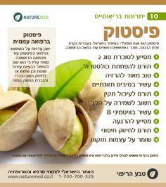 פיסטוק הוא אגוז פופולרי בישראל והוא יכול לסייע בשמירה על בריאות הלב, איזון רמות סוכר בדם וכן להרזיה נכונה על ידי הגברת תחושת שובע. עוד על צמחי מרפא וחילוף חומרים להרזיה נכונה: http://www.naturemed.co.il/%D7%96%D7%99%D7%A8%D7%95%D7%96-%D7%97%D7%99%D7%9C%D7%95%D7%A3-%D7%97%D7%95%D7%9E%D7%A8%D7%99%D7%9D