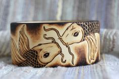 Koi Fish Pyrography Wood Burning Bracelet Bangle Pisces Tattoo Water Sign Wooden Jewelry